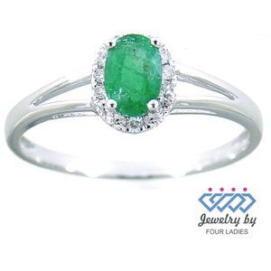 Halo Diamond Oval Style Emerald Ring White Gold